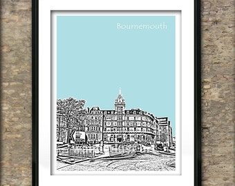 Bournemouth Art Print Poster A4 Size Bournemouth Town Hall England
