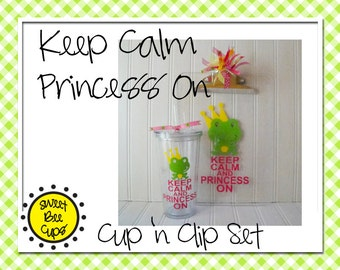 Sweet Bee Cups Set -Acrylic Cup and Clipboard Set - Keep Calm and Princess On - Cute Frog Prince - Personalized Large 20 oz Tumbler BPA FREE