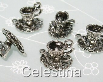 5 x Tibetan Silver Alice in Wonderland Tea Cup & Spoon Charms Steampunk Silver - TS169