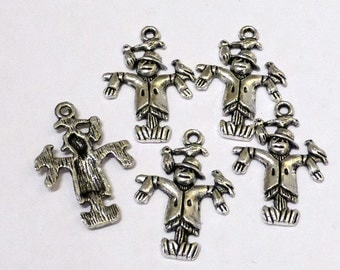 10 x Tibetan Silver Scarecrow Charms - 3D - Wizard of OZ - 25mm - LF NF -TS350
