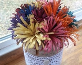 Colored Flowers in a Can -  Hand Carved Wooden Flowers in a Twine and Lace Can