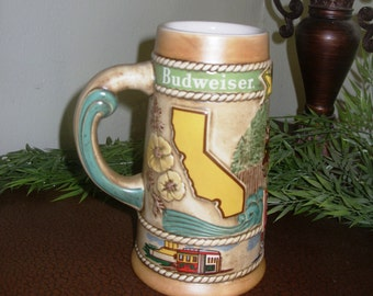 Vintage Back Bar Decor, Antique Barware, Collectible Beer Stein, Budwiser Limited Edition California Commemorative Beer Stein 1981