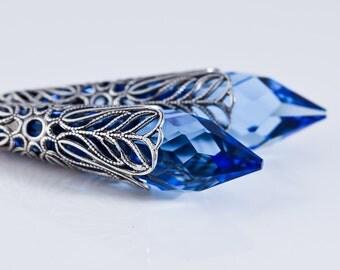 Sapphire Earrings, Swarovski Crystal Sterling Silver Icicle Earrings, Sapphire Blue Victorian Grand Filigree Earrings, Antique Silver