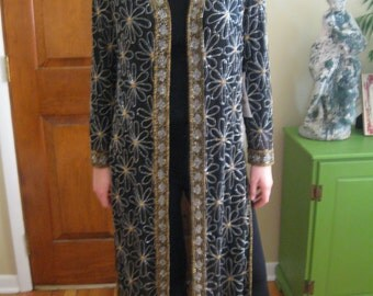 ON SALE!! Cool vintage 80's topper-Dress Coat-Robe exquisite beaded detail!
