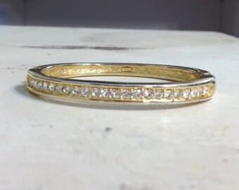 1980's Gold and Diamond Pave Bracelet, 80's Vintage Rhinestone Vintage Bracelet, Vintage 80's Bangle Bracelet By Roman Signed, Vintage Brace