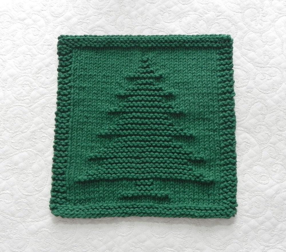 Christmas Dishcloth Knitting Patterns : Christmas tree knit dishcloth forest green by auntsusanscloset
