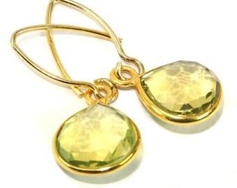 24 Kt Vermeil Sterling Silver Lemon Quartz Faceted Heart Gemstone Bezel Earrings 33x13mm Approx