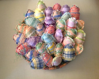 Five fabric Easter eggs Easter eggs Pillow tucks Easter decor Easter favors  Shabby chic  Country cottage Cottage chic Bowl fillers