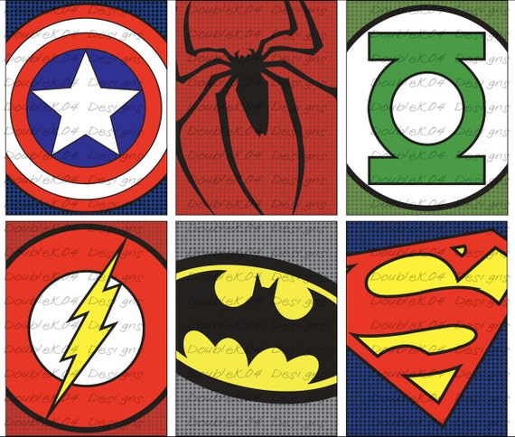 It's just a picture of Dynamic Superhero Logos Printable