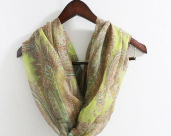 Boho Paisley Infinity Scarf Paisley Scarf Vintage Scarf with Brown Paisley Flower