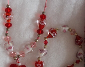 Romance of the Heart. A Sparkly Murano Heart Necklace and bracelet set ***SALE****