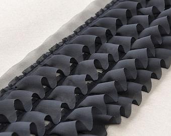 "Lace Trim Black Chiffon Trim 4 Layers Fabric Wedding Fabric 6.29"" width 1 yard"