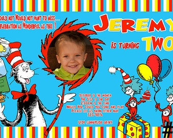 Cat in the Hat Invitation with Photo  Digital File - You Print Birthday Party invite Printable   Dr Seuss