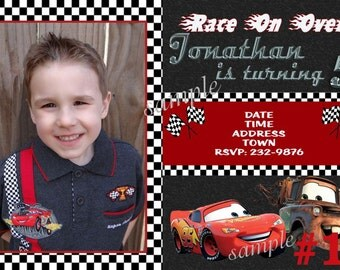 20 Disney Cars Birthday Party Invitations PRINTED  20 or more Printed invites Includes Envelopes - lightning mcqueen