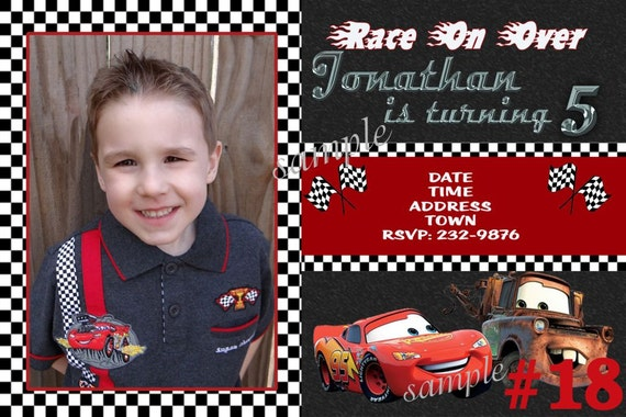 20 Printed Disney Cars Birthday Party Photo Invitations / Includes Envelopes
