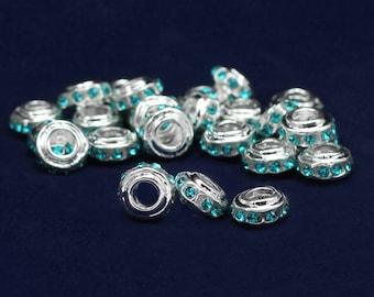 10 Chunky Teal Crystal Charms (10 Charms)  (CHARM49-3B)