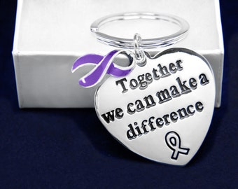 Wholesale Big Heart Purple Ribbon Key Chain In Gift Boxes (12 Key Chains) (K-04A-4)