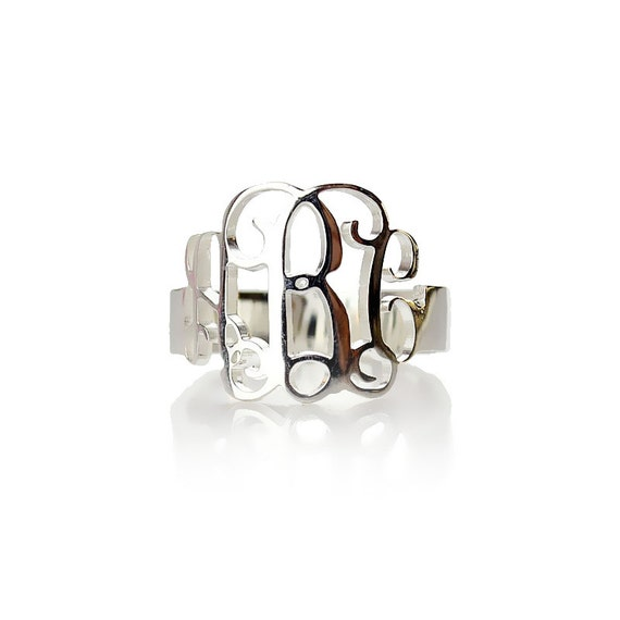 monogram cut out ring monogram jewelry sterling silver