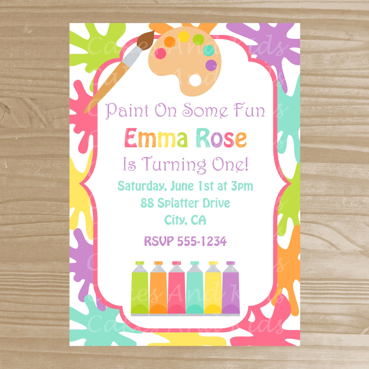 This is a picture of Trust Free Printable Paint Party Invitations
