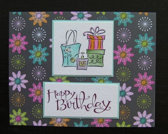 Birthday Card, Hand Stamped