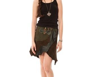 Handmade natural suede skirt. Indie multicolor Persian suede skirt. Persian clothing