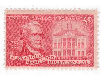 Qty of 10 - 1957 Unused Vintage Postage Stamp - Alexander Hamilton - No. 1086