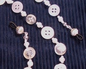 Button, Button Eye Glass Beaded Bling Cord with Silver findings
