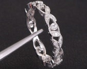 Art Deco Ring - Antique Style VS-H .23CT Pave Diamonds Ring 14K White Gold Floral Milgrain Wedding Band, Anniversary Ring