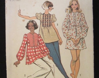 70's Tunic or Mini-Dress Simplicity Pattern 5629 Size 11/12 UNCUT