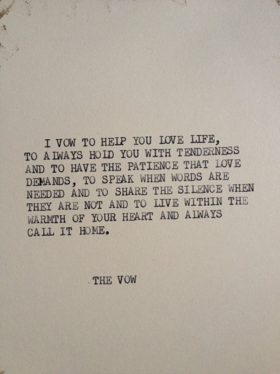 Items Similar To THE VOW Typewriter Quote On 5x7 Cardstock On Etsy