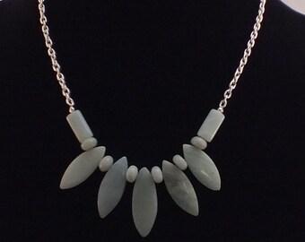 Beautiful Pale Blue/Green Amazonite Fan Necklace
