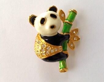Panda Clinging to Bamboo Brooch/Pin
