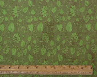 "Lime Floral Silk Jacquard 100% Silk Dupioni Fabric 44"" Wide, By The Yard (JD-318C)"