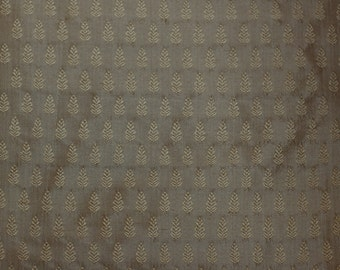 "Dull Gold Dupioni Jacquard 100% Silk Fabric 54"" Wide, By the Yard (JD-339A)"