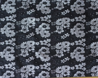 "Black/White Satin Brocade Jacquard 100% Silk Fabric, 44"" Wide, By The Yard (JD-364)"
