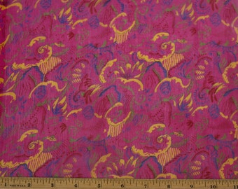 "Fuchsia/Gold Printed Crinkled Chiffon 100% Silk Fabric 44"" Wide, By the Yard (TS-7453)"