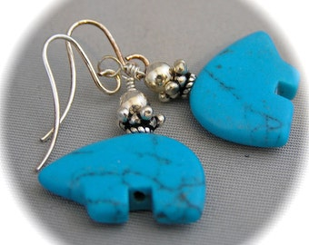 Turquoise Magnesite Bear Fetish Earrings