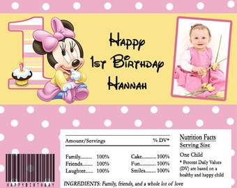 Minnie Mouse 1st Birthday Candy Bar Wrapper Digital File or Printed FREE SHIPPING