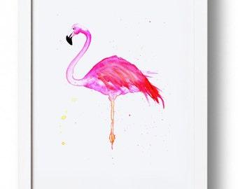 Flamingo wall art, bright pink, print, watercolour.