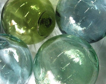 "Set of 4 Vintage Hand-blown Japanese Glass Fishing Floats - 4"" (Approximate) Round - FREE SHIPPING"