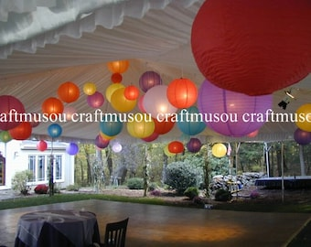 "Multi-Color 24 Piece Paper Lantern SET  Round Paper Lanterns 6"" 8"" 10"" 14"" 16"" 18"" Wedding Party Floral Sky Decoration"