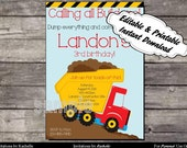 Construction Invitation Dump Truck Birthday Party - Editable Printable Digital File with Instant Download
