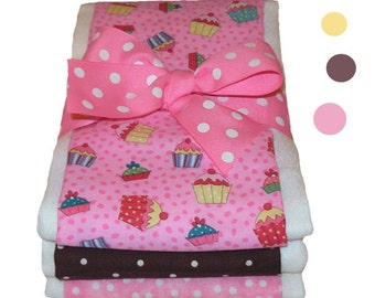 Cupcake Burp Cloth Set - Baby Shower Gift