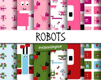 Robots Digital Paper Pack with adorable robots & animal figures in TWO color ways for scrapbooking, invitations, cards, crafts