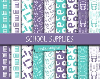 "School Digital Paper ""School Supplies"", Purple Digital Paper, Blue Digital Paper, Back to School Patterns for scrapbooking, cards & crafts"