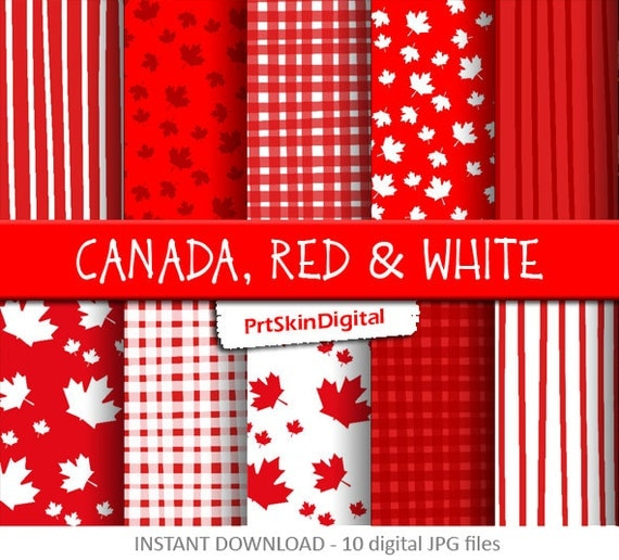 Canada digital paper red and white digital paper canadian maple leaf