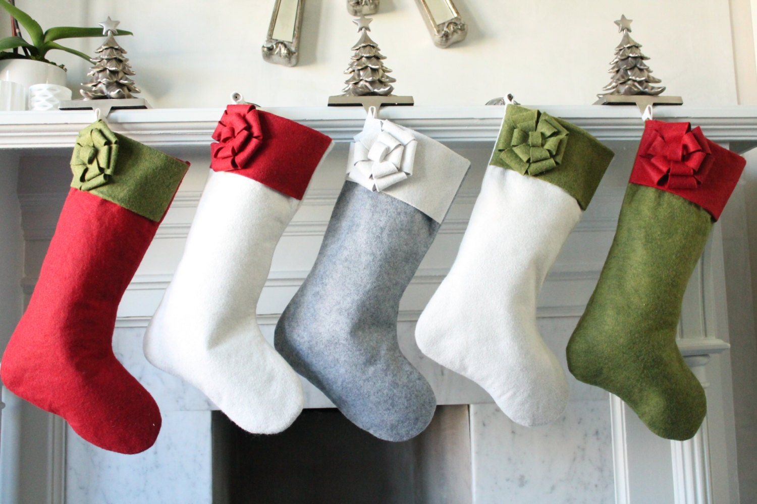 Set Of 5 Wool Felt Modern Christmas Stockings Unique Felt