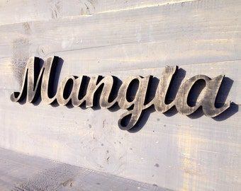 Italian Sign Mangia- Italian kitchen sign-  Rustic Kitchen Decor-  Eat Sign Mangia