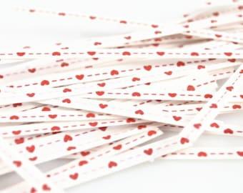 HEART TWIST TIES (Set of 50)  - Red Heart Twist Ties (10cm)