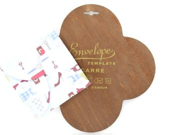 WOOD ENVELOPE TEMPLATE - Wood Template / Stencil to Create Square Envelopes (19.7cm x 19.7cm)